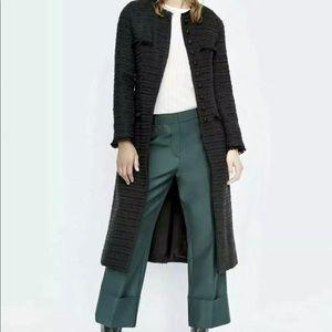 ZARA Tweed Coat NWT sz M Black Long Jacket